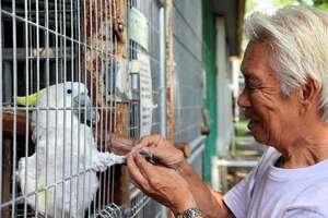 二本松園長と握手するピーちゃん(福知山市猪崎・市動物園)