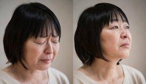 亡き母親を思い、涙を流す河合雅美さん(8月30日、京都市南区)