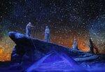 プロジェクションマッピングで星空を投影した「神々の黄昏」の一場面(びわ湖ホール提供)