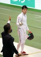 男子エペで決勝に進んだ加納虹輝=駒沢体育館