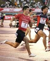 男子200メートル予選2組 2着で決勝進出を決めた桐生(博多の森陸上競技場)