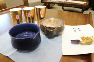 和束町がふるさと納税の返礼品として作った特製茶器セット(同町役場)