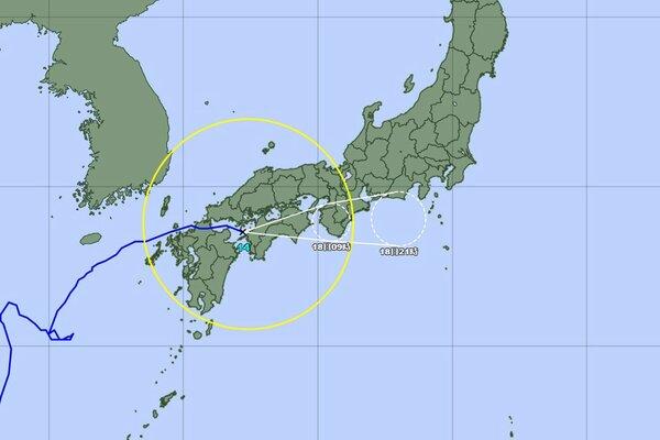 台風14号の進路予想図(気象庁ホームページより)