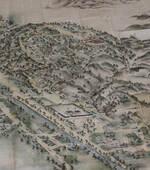 男山に点在した宿坊などが丹念に描かれた絵図。