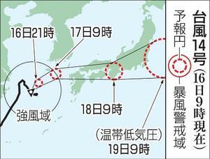台風14号の予想進路(16日9時現在)