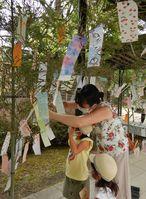 ササ飾りに願いごとをくくりつける家族たち(京都市左京区・市動物園)