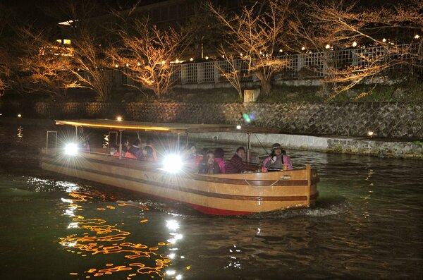 新型コロナウイルスの影響で中止となった岡崎桜回廊ライトアップ。「十石舟めぐり」の夜間運航も取りやめに(2015年3月、京都市左京区・琵琶湖疏水)