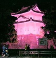 乳がん検診普及を呼び掛けるため、ピンク色にライトアップされた二条城の隅櫓(京都市中京区)