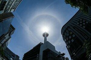 京都タワーの上空に現れた日暈(5日午後1時3分、京都市下京区)