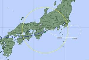 台風14号の進路予想図(18日午前10時発表、気象庁ホームページより)