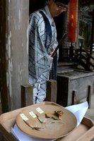 刈り取られ、神前に供えられたミョウガ(綾部市金河内町・阿須々伎神社)