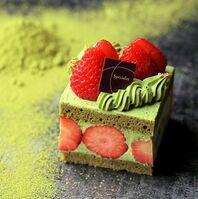 和束茶フェアで提供される抹茶のショートケーキ