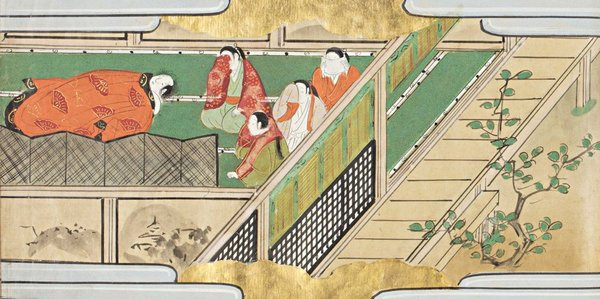 "<div class=""caption"">『奈良絵本 大和物語』(龍谷大大宮図書館蔵)<br> 十六図の絵を有する江戸時代の写本。『浦島太郎』や『酒呑童子』など、お伽草子と呼ばれる中世小説は極彩色の絵を伴って読まれ、奈良絵本と称された。奈良絵本の素材は広く『源氏物語』や『伊勢物語』など、平安時代の物語にも及ぶ。この絵は、在原業平の臨終を描く本段の挿絵である</div>"
