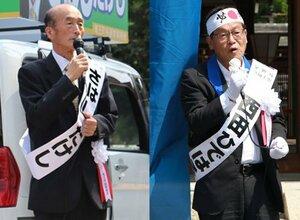 立候補した佐橋候補(左)と西田候補=滋賀県竜王町