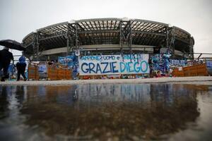 「ディエゴ・アルマンド・マラドーナ競技場」に改称されたナポリの本拠地=11月29日(ロイター=共同)