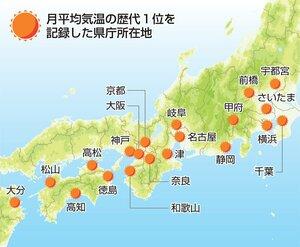 月平均気温の歴代1位を記録した都道府県庁所在地