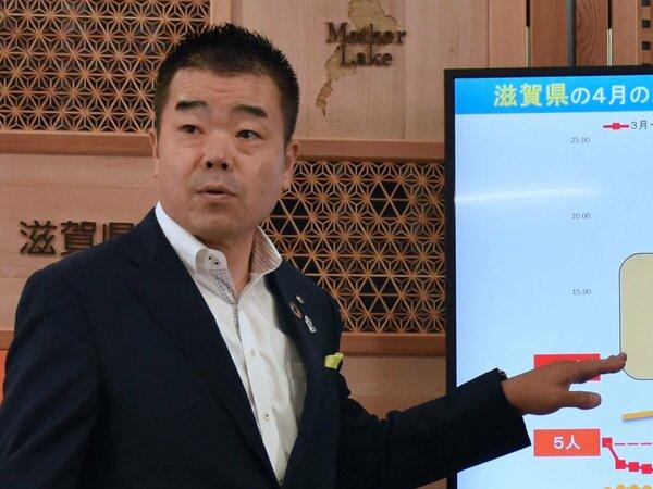 滋賀県の三日月知事(7月20日、滋賀県庁)