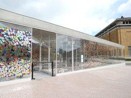 新型コロナウイルスの影響で開館が4度先送りになっている京都市京セラ美術館(京都市左京区)