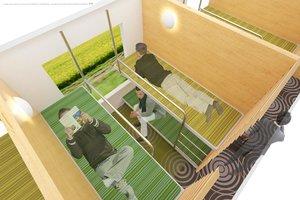 寝転がれる座席のイメージ(JR西日本提供)