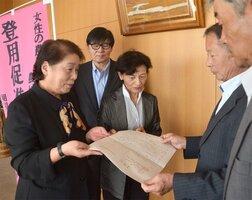 農業委員などに積極的に女性を登用するよう、要望書を手渡す池田会長(左)ら=滋賀県野洲市役所