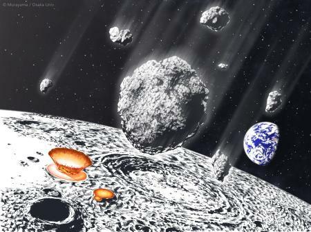 地球と月に降り注いだ小惑星の破片の想像図(Murayama/Osaka Univ.)