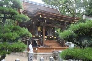 檜皮ぶきの屋根をふき替えるなど修理が完了した本殿(野洲市五条・兵主大社)