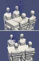 飲食店のテーブルで感染者(手前)の正面に座った人が浴びる飛沫(上)と、感染者(奥右)の横に座った人が浴びる飛沫のシミュレーション(理化学研究所、豊橋技術科学大、神戸大提供)
