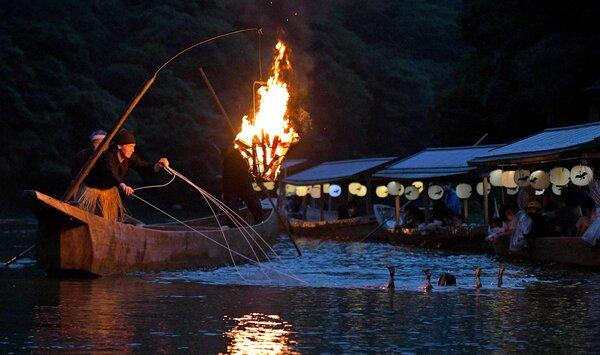 かがり火が水面を照らす中、巧みに鵜を操る鵜匠(1日午後7時34分、京都市右京区・大堰川)
