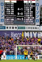 13-1のスコアが表示された電光掲示板を背に戦うサンガの選手ら(24日午後5時57分、千葉県柏市・三協フロンテア柏スタジアム)