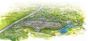 城陽市の東部丘陵地に進出するアウトレットのイメージ図(三菱地所提供)