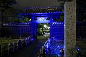 新型コロナウイルスに対応する医療従事者への感謝を示して青色にライトアップされた足利学校の入徳門=18日、栃木県足利市