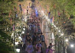 2016年の「京の七夕」で堀川沿いの七夕飾りを楽しみながら歩く観光客ら(京都市中京区)