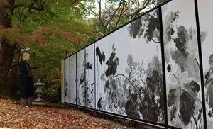 「山科義士まつり」の時期に合わせてデジタル複製された岩屋寺のふすま絵(京都市山科区・同寺)