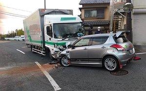 事故があった現場(14日午後6時すぎ、京都市北区)=画像の一部を修正しています