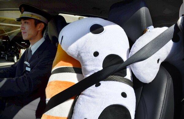 助手席に乗っているチンアナゴのぬいぐるみ。きっちりシートベルトをしている