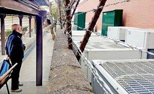京都市武道センターの弓道場(左側)の塀を隔てた敷地で稼働音を響かせる多数の業務用室外機(京都市左京区)