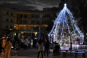 守山銀座商店街に復活したクリスマスツリー(守山市勝部1丁目・あまが池プラザ親水緑地)