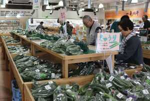 新鮮な野菜が並び、市内外からの買い物客でにぎわう店内(亀岡市篠町・たわわ朝霧)