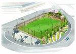 スタジアムに隣接して整備するスケートボード場とフットサル場のイメージ図=亀岡市提供