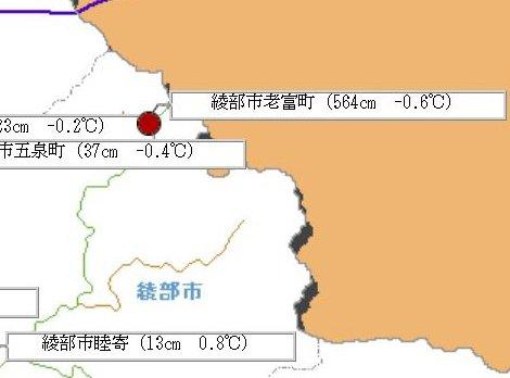 道路情報提供システムで表示された16日の綾部市老富町の積雪量