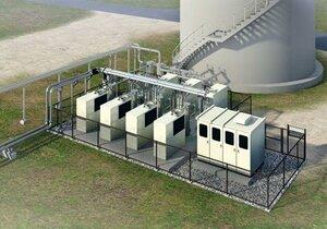 下水処理の過程から発生するメタンガスを発電に利用する設備の完成予想図=月島機械提供