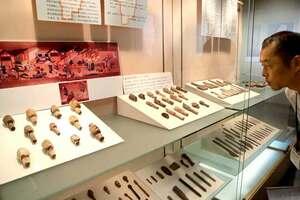 御土居展で紹介されている人形の頭部などの出土品(京都市上京区・市考古資料館)