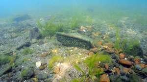 琵琶湖底の尚江千軒遺跡の調査で発見され、12世紀ごろのものとみられる屋根瓦