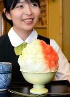 熱中症対策キャンペーンで販売を始めたかき氷「塩トマト・バジル」(京都市中京区・二條若狭屋寺町店)