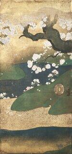 黒書院 二の間障壁画「桜花雉子図」部分=いずれも京都市提供