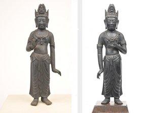 奈良時代の勢至菩薩立像(右)と眞光寺の観音菩薩立像(重要文化財)