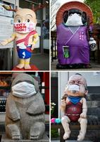 マスク姿で、新型コロナウイルス感染拡大防止に向けPRをする(左上から時計回りに)奈良県の「せんとくん」、滋賀県甲賀市の巨大タヌキ像、兵庫県福崎町の妖怪「子泣き爺」像、神戸市の中華街・南京町のパンダ像