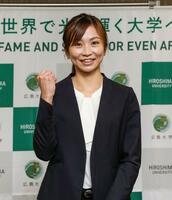 広島大大学院に入学することを発表した陸上女子100メートル障害の木村文子=21日、広島市