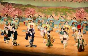 2年前の都をどりで勢ぞろいして踊る芸舞妓(2019年3月、京都市東山区)