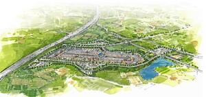 京都府城陽市の東部丘陵地に進出するアウトレットのイメージ図(三菱地所提供)